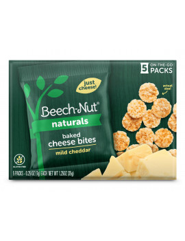 (6 Boxes) Beech-Nut Baked Cheese Bites, Mild Cheddar, 5 ct, 1.25 oz