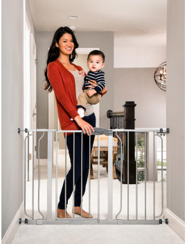 Regalo Easy Step® 49-Inch Extra Wide Baby Gate, Includes 4-Inch and 12-Inch Extension Kit, 4 Pack of Pressure Mount Kit, and 4 Pack of Wall Mount Kit
