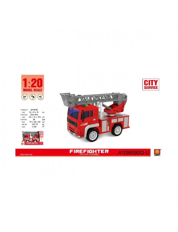 "9.25"" Fire Fighter 1:20 Scale Toy Truck with Sound and Light"