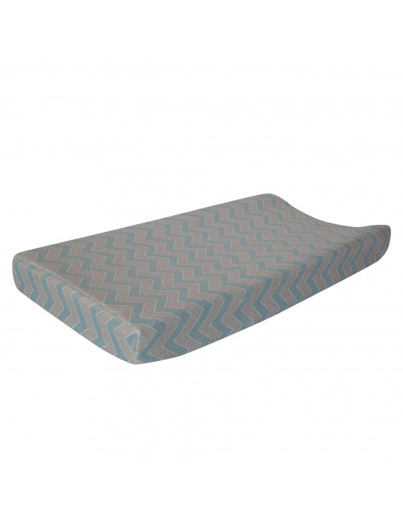 Lambs & Ivy Happi by Dena™ Night Owl Blue/Gray Chevron Baby Changing Pad Cover