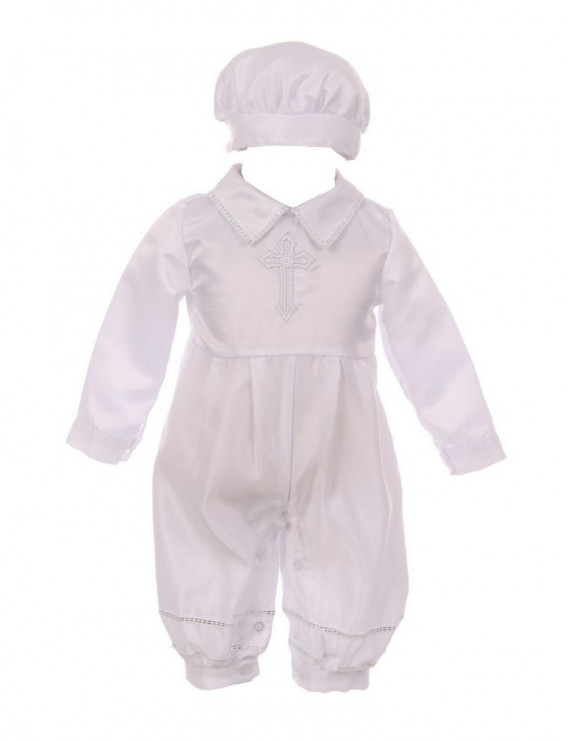 Baby Boys White Cross Embroidery Dull Satin Romper Hat Baptism Outfit