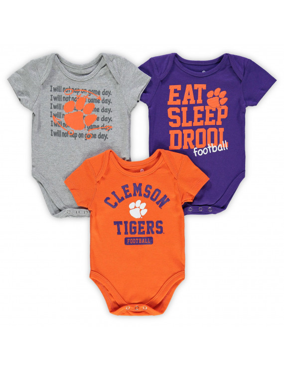Clemson Tigers Newborn & Infant Eat, Sleep & Drool Football 3-Piece Bodysuit Set - Orange/Purple/Heathered Gray