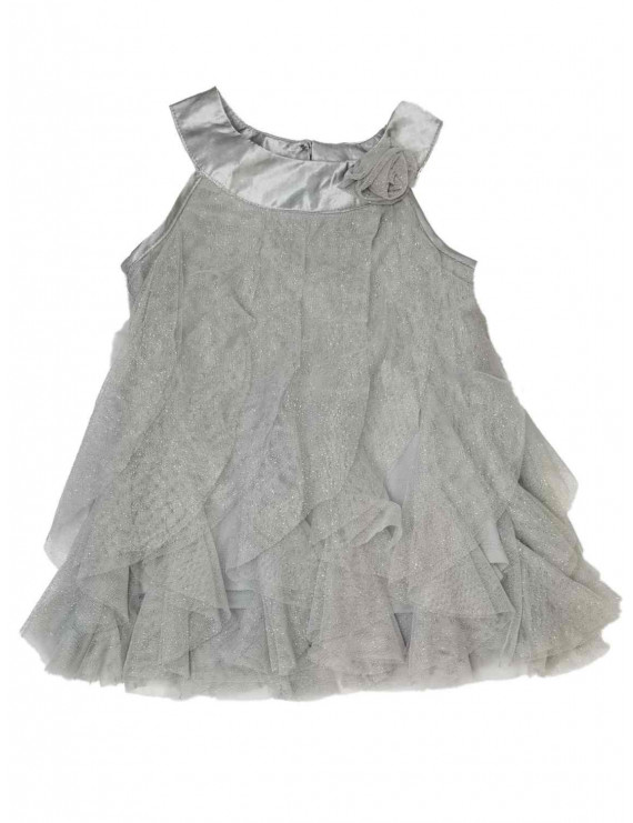 Infant Baby Girls Grey Silver Sparkle Christmas Holiday Fancy Party Dress