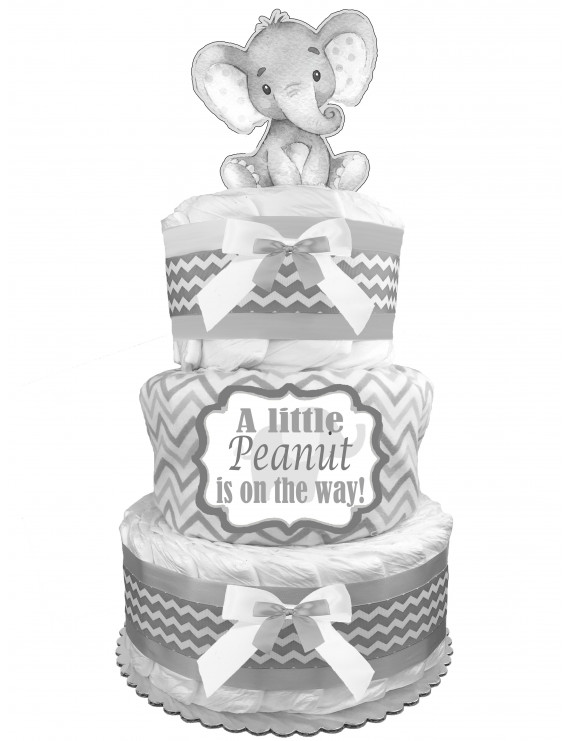 Elephant 3-Tier Diaper Cake - Gender Neutral Baby Shower Gift - Boy or Girl Newborn Gift - Gray