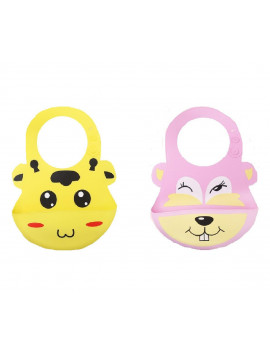 (Pack of 2) Most Hygenic Silicone Baby Bib with Cute Characters, Pink Bever + Yellow Cow by Baby Classic