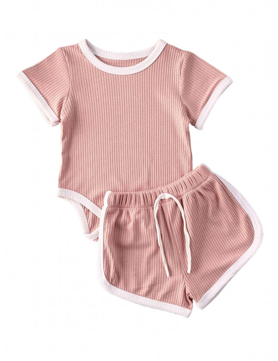 Toddler Baby Girls Boys Clothes Sets Baby Boy Girl Ribbed Knitted Solid Color Short Sleeve Romper Top+Shorts 2Pcs Pink 18-24 Months