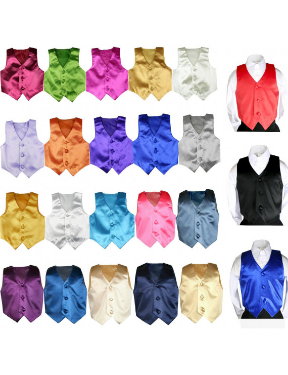 Classic Formal Tuxedo Suits Color Satin Vest Only Boy Baby Teen 8-28