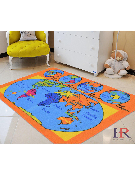 World Map Kids Educational play mat For School/Classroom / Kids Room/Daycare/ Nursery Non-Slip Gel Back Rug Carpet-(3 by 5 feet)