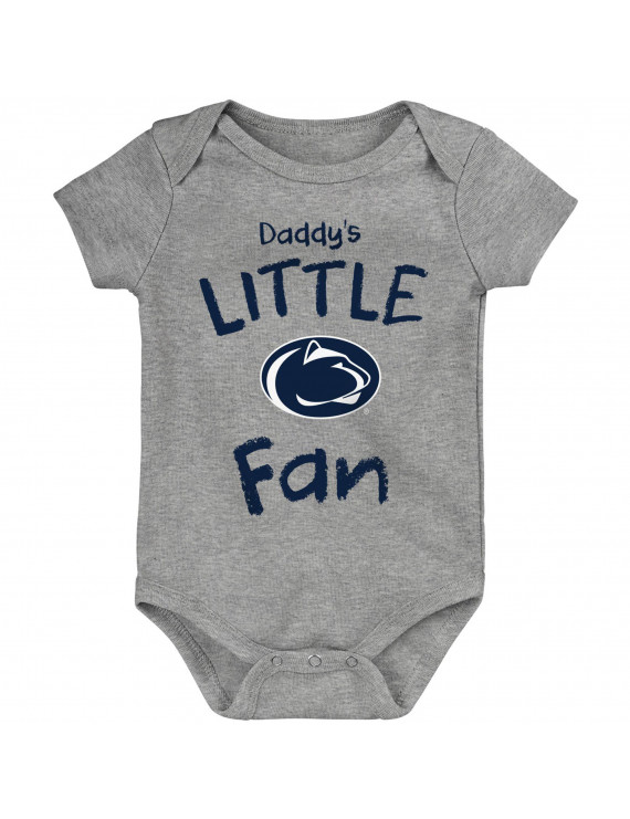 Penn State Nittany Lions Newborn & Infant Daddy's Little Fan Bodysuit - Heathered Gray
