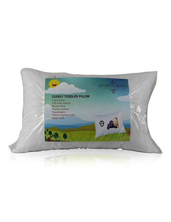 Toddler Pillow 13 X 18 - Soft & Hypoallergenic - Made in USA - Better Sleep for Toddlers,