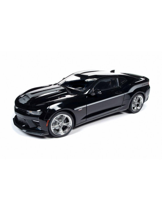 2018 Chevy Camaro Hardtop, Black with Silver Stripes - Auto World AW254 - 1/18 scale Diecast Model Toy Car