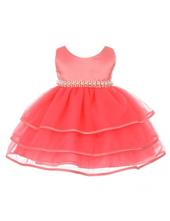 Chic Baby Girl Coral Organza Pearl Sash Triple Layer Flower Girl Dress