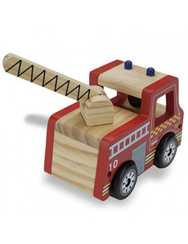 Imagination Generation Wooden Wheels Chunky Toy Fire Engine Fireman Truck Rescue Vehicle