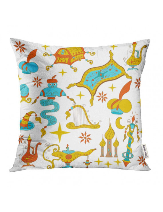 ARHOME Fairytale Aladdin Story Jinn Genie Gold Magic Lamp Like Flying Carpet Treasure Pillow Case Pillow Cover 20x20 inch Throw Pillow Covers