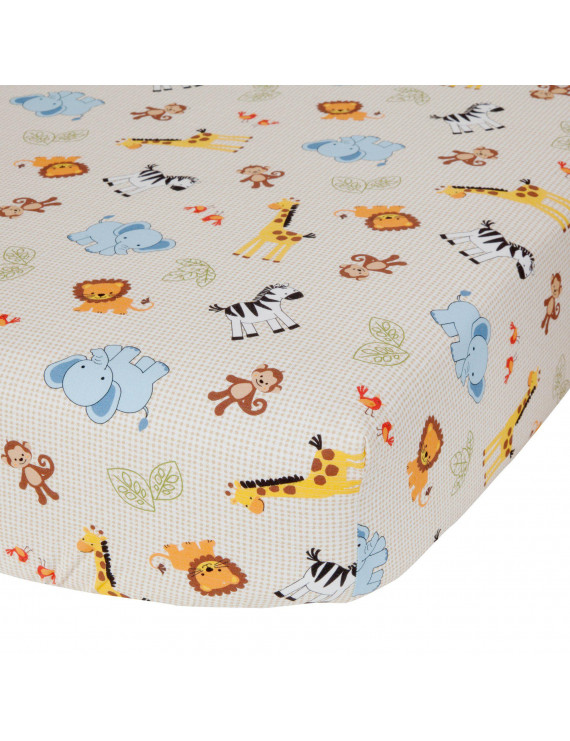 Lambs & Ivy Cotton-Polyester Blend Crib Sheets, Jungle Buddies
