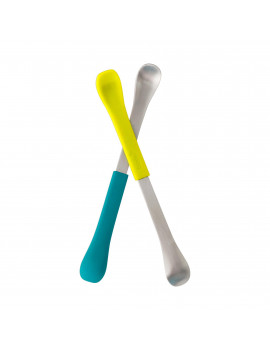 Boon SWAP 2-IN-1 Feeding Spoon - Teal & Yellow (2pk)