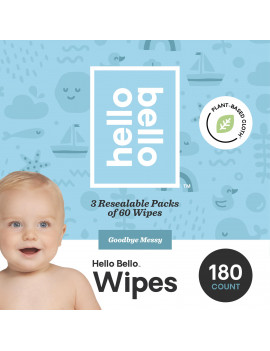 Hello Bello Baby Wipes, Unscented, 180 Count