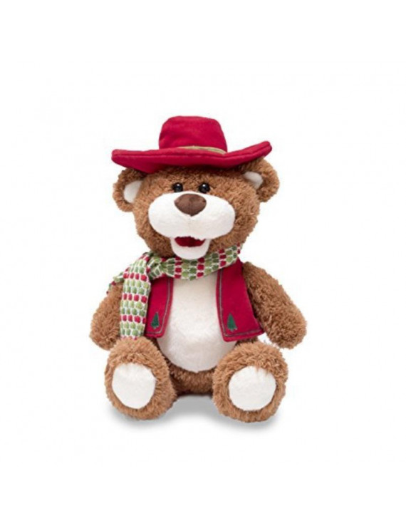 """cuddle barn blue country cody 12"""" bear that sings blue christmas animated musical plush toy"""