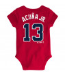 Ronald Acuna Jr. Atlanta Braves Majestic Newborn & Infant Baby Slugger Name & Number Bodysuit - Red