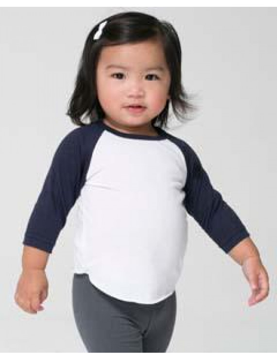 Infant Poly-Cotton 3/4 Sleeve Raglan - WHITE/ NAVY - 18-24MOS