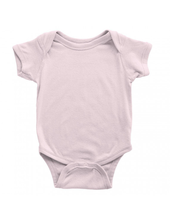 NYC FACTORY Tulo & Garn Baby Bodysuit Screen Printed Soft 100% Cotton Snapsuit (Ultra Light Pink, 18m)