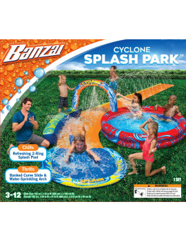 Banzai Cyclone Splash Park w/ Curved Slide, Water Sprinkling Arch, Splash Pool