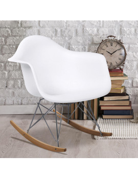 Best Choice Products Living Room Mid-Century Modern Accent Rocking Arm Chair Home Furniture - White