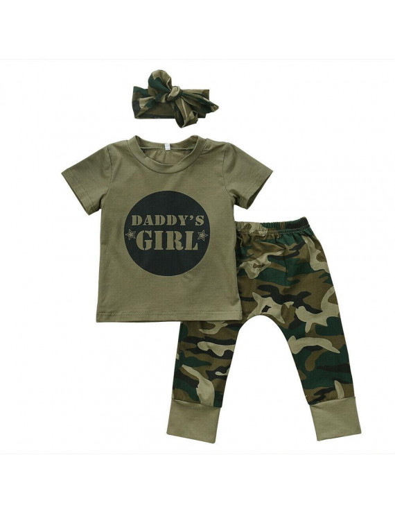 Newborn Baby Boy Girl Camo T-shirt Tops Pants Outfits Set Clothes 0-24M Cotton Casual Short Sleeve Kids Sets