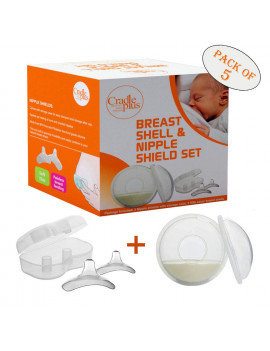 Cradle Plus Nipple shield and Breast Shell I Pack of 5 Breastfeeding Essentials