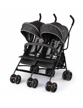 Dream On Me Volgo Twin Umbrella Stroller, Black