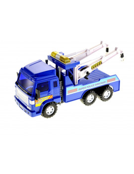 Big Heavy Duty Wrecker Tow Truck Police Toy for Kids with Friction Power, No Batteries Needed, Adjustable and Rotatable Double Hooks On Back, Great Car Toys Gift Birthday Giveaways for Boys and Girls