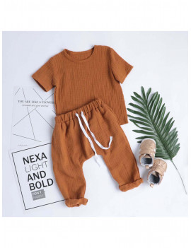 Baby Linen Round Neck Top and Trouser Set