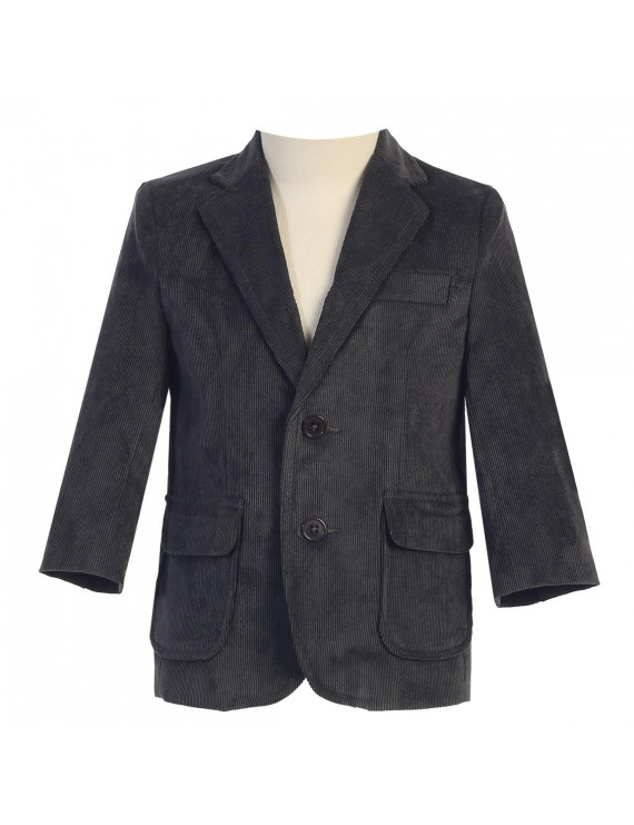 Little Boys Dark Gray Two Button Corduroy Blazer 4T