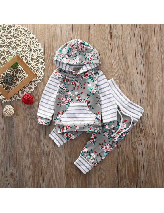 Newborn Toddler Boys Girls Long Sleeve Hooded Tops T-shirt+Pants Outfits Clothes