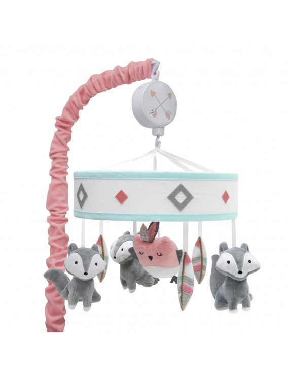 Lambs & Ivy Little Spirit Musical Baby Crib Mobile - Gray, White, Coral, Hearts