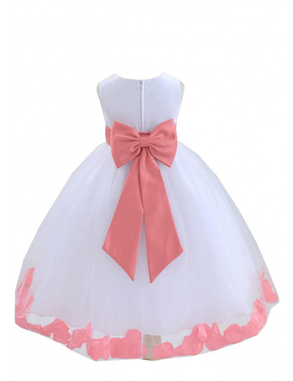 Ekidsbridal Wedding Pageant Rose Petals White Tulle Flower Girl Dress Toddler Special Occasion 302T Coral 10