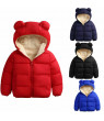 Baby Boys Girls Solid Color 3D Ears Hooded Jacket Winter Warm Coat Zip Snowsuits