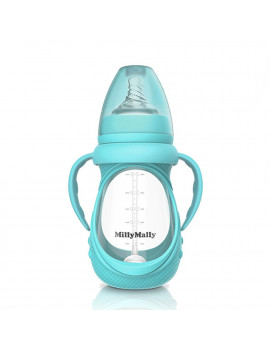 Baby Glass Bottle Anti Colic Wide Neck With Detachable Handle Feeding Bottle For Newborn Infant Toddler BPA Free Blue 8oz