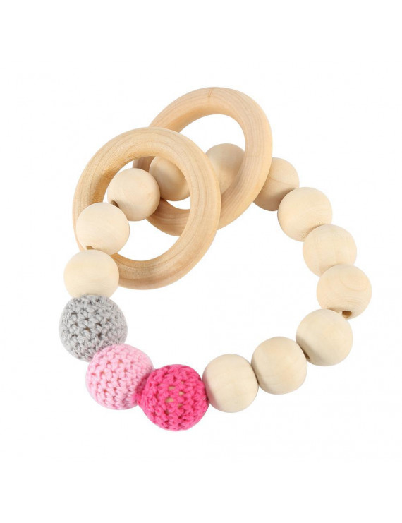 Ccdes Handmade Natural Wooden Baby Teether Bracelet Crochet Beads Teething Ring Infant Toy Gift, Wooden Teether, Wooden Baby Teether