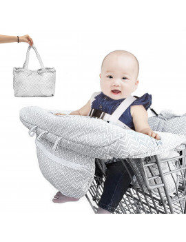 2in1 Baby Shopping Cart Cover for Baby and Toddler, High Chair Cover Protector with Safety Harness