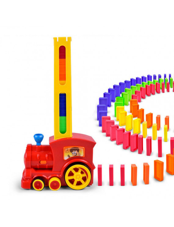 Domino Intelligence Puzzle Building Block Car Electric Locomotive Sound Light Children Early Learning Educational Toys Gift