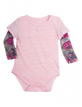 """Santa Barbara Design Studio Infant Tattoo Sleeve Baby Snapsuit - Pink -Girls Top"""