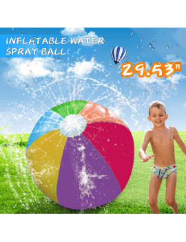 "29.53"" Inflatable Water Spray Beach Ball Summer Outdoor Sports Game Kids Sprinkler Toy"