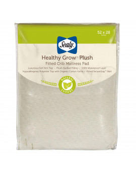 Sealy Healthy Grow Plush Waterproof Crib and Toddler Mattress Protector Pad, Cream and Green