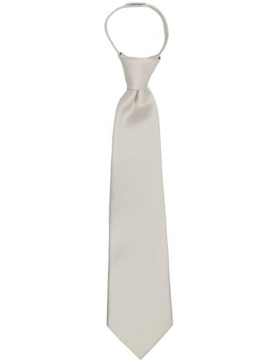 "Jacob Alexander Boy's 11"" Pretied Ready Made Solid Color Zipper Tie - Champagne"