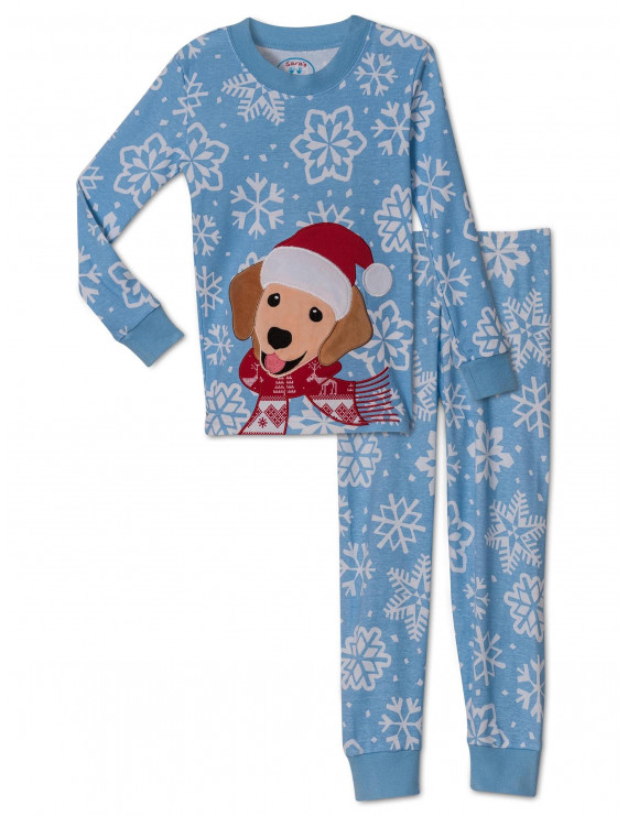Sara's Prints Kids Pajamas Boys and Girls Long Sleeve Top and Lounge Pants Sleepwear Set, Light Blue, Size: 5