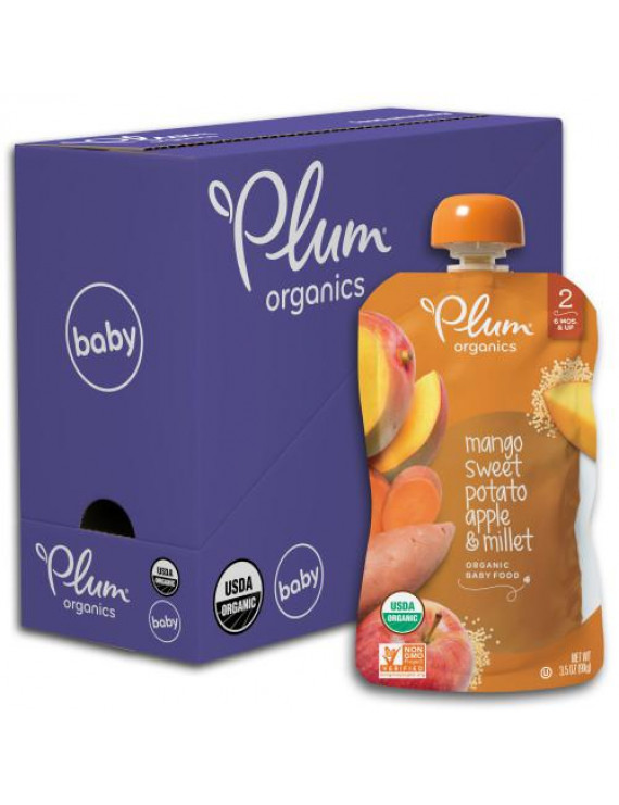 Plum Organics Stage 2 Organic Baby Food, Mango, Sweet Potato, Apple & Millet, 3.5 Ounce Pouch (Pack of 6)
