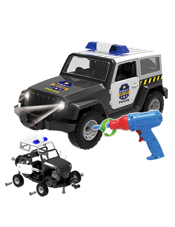 Roseonmyhand DIY Assembled Off-road Truck With Alarm Sounds LED Lights Kids Toys