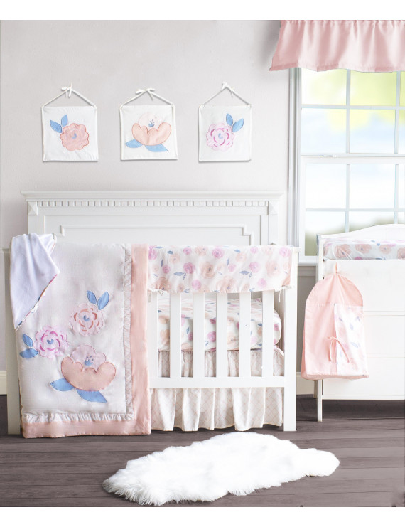 Pam Grace Creations Watercolor Floral Rose 10 Piece Crib Bedding Set
