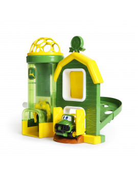 Bright Starts John Deere Rev Up Barnhouse Playset and Push Vehicle, Ages 12 months +